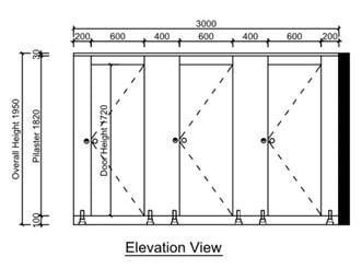 toilet cubicle size elevation