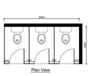 toilet cubicle size plan