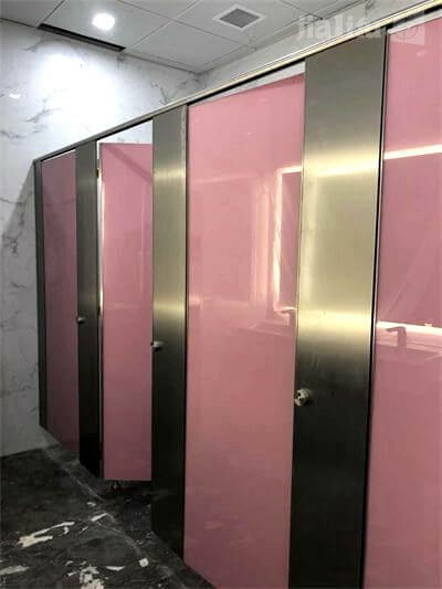 Pink Composite HPL-Stainless Steel-Galss Toilet Partition